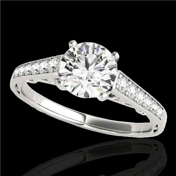 1.35 ctw Certified Diamond Solitaire Ring 10k White Gold - REF-177M3G