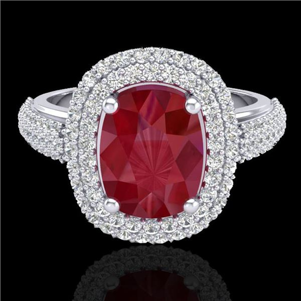 3.50 ctw Ruby & Micro Pave VS/SI Diamond Certified Ring 18k White Gold - REF-143M6G