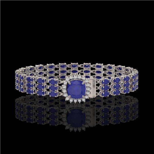31.91 ctw Sapphire & Diamond Bracelet 14K White Gold - REF-289G3W