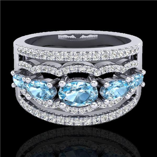 2.25 ctw Sky Blue Topaz & Micro Pave VS/SI Diamond Ring 10k White Gold - REF-81M8G