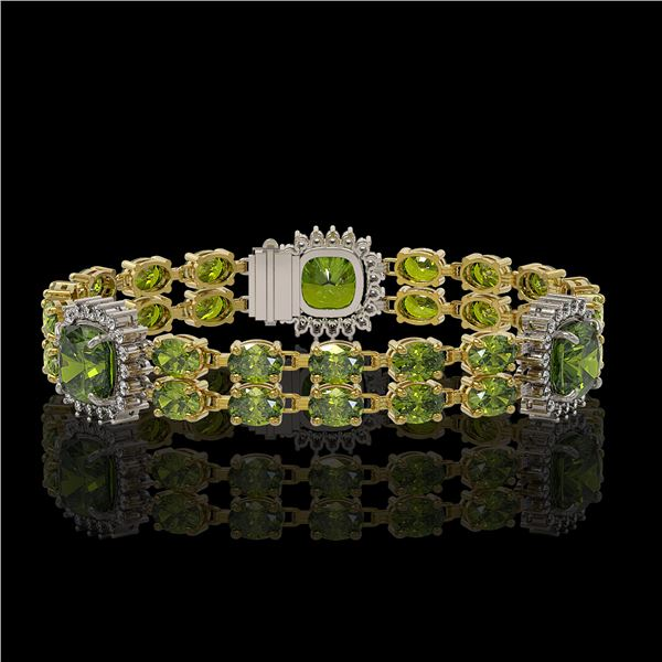 18.93 ctw Tourmaline & Diamond Bracelet 14K Yellow Gold - REF-314M8G