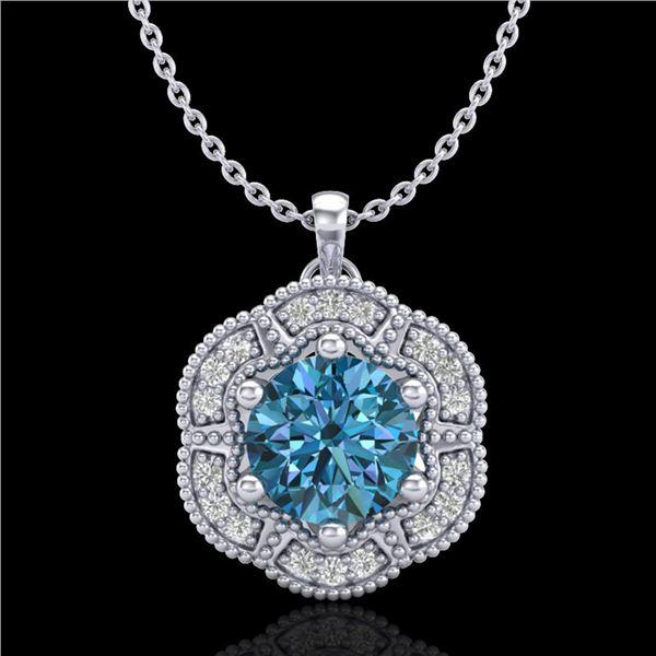 1.01 ctw Fancy Intense Blue Diamond Art Deco Necklace 18k White Gold - REF-163K6Y