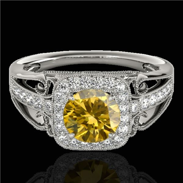 1.3 ctw Certified SI/I Fancy Intense Yellow Diamond Ring 10k White Gold - REF-197H8R