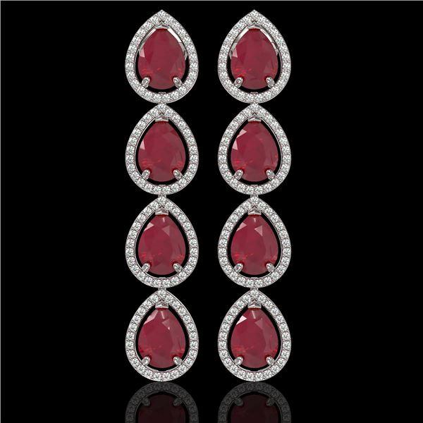 16.01 ctw Ruby & Diamond Micro Pave Halo Earrings 10k White Gold - REF-236K4Y