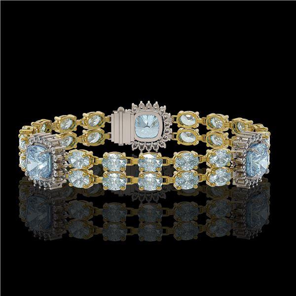 17.19 ctw Aquamarine & Diamond Bracelet 14K Yellow Gold - REF-289R3K