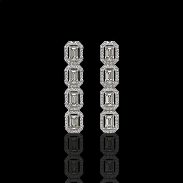 3.84 ctw Emerald Cut Diamond Micro Pave Earrings 18K White Gold - REF-459Y8X