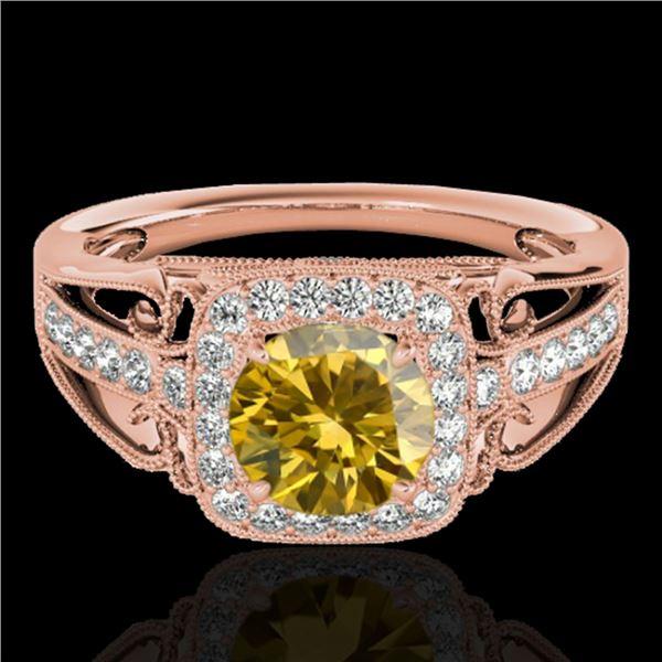 1.3 ctw Certified SI/I Fancy Intense Yellow Diamond Ring 10k Rose Gold - REF-197K8Y