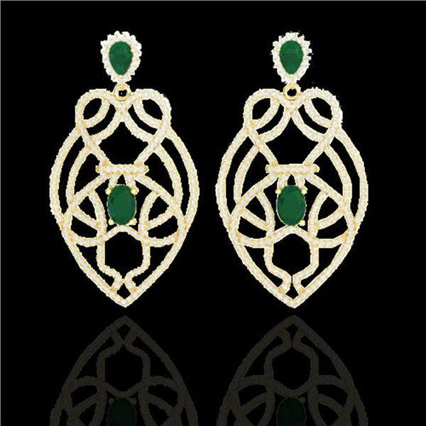 7 ctw Emerald & Micro VS/SI Diamond Heart Earrings 14k Yellow Gold - REF-381A8N