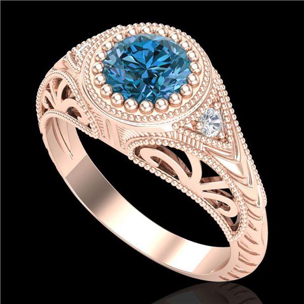 1.07 ctw Fancy Intense Blue Diamond Art Deco Ring 18k Rose Gold - REF-200N2F