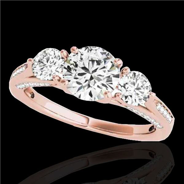 1.75 ctw Certified Diamond 3 Stone Ring 10k Rose Gold - REF-177F3M