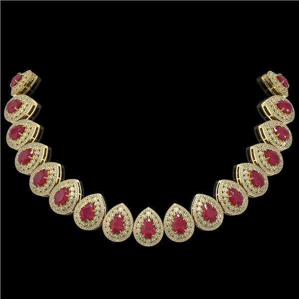 121.42 ctw Certified Ruby & Diamond Victorian Necklace 14K Yellow Gold - REF-3416Y5X