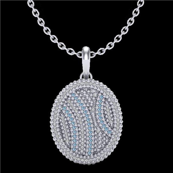1 ctw Micro Pave Blue & White VS/SI Diamond Necklace 14k White Gold - REF-96W8H