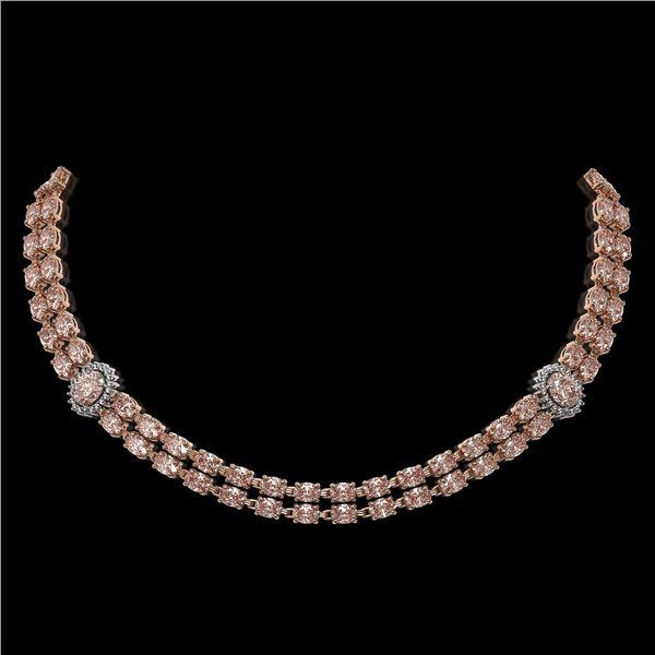36.2 ctw Morganite & Diamond Necklace 14K Rose Gold - REF-527W3H