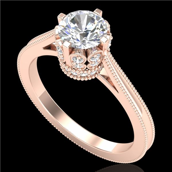 1.14 ctw VS/SI Diamond Solitaire Art Deco Ring 18k Rose Gold - REF-220A5N