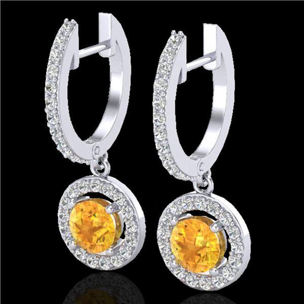 1.75 ctw Citrine & Micro Pave VS/SI Diamond Earrings 18k White Gold - REF-82R8K
