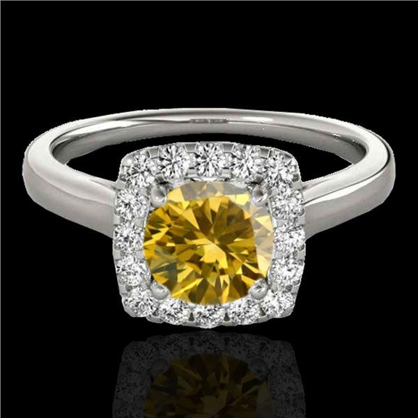 1.37 ctw Certified SI/I Fancy Intense Yellow Diamond Ring 10k White Gold - REF-197W8H