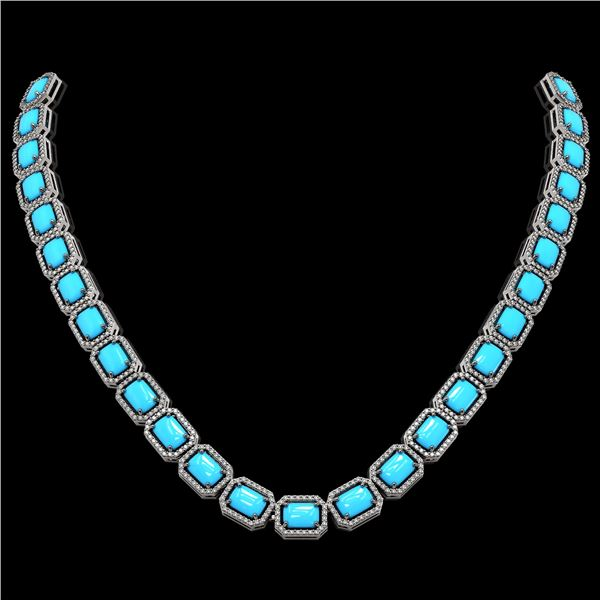 52.89 ctw Turquoise & Diamond Micro Pave Halo Necklace 10k White Gold - REF-670X9A