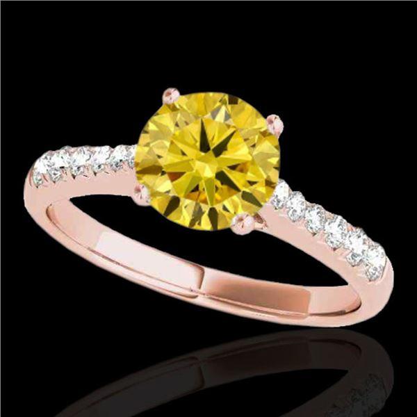 1.25 ctw Certified SI/I Fancy Intense Yellow Diamond Ring 10k Rose Gold - REF-190W9H