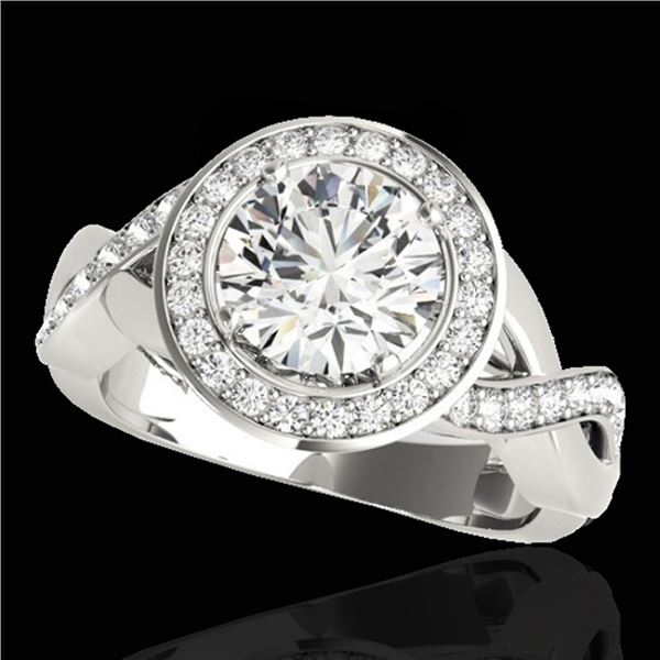 1.75 ctw Certified Diamond Solitaire Halo Ring 10k White Gold - REF-218G2W