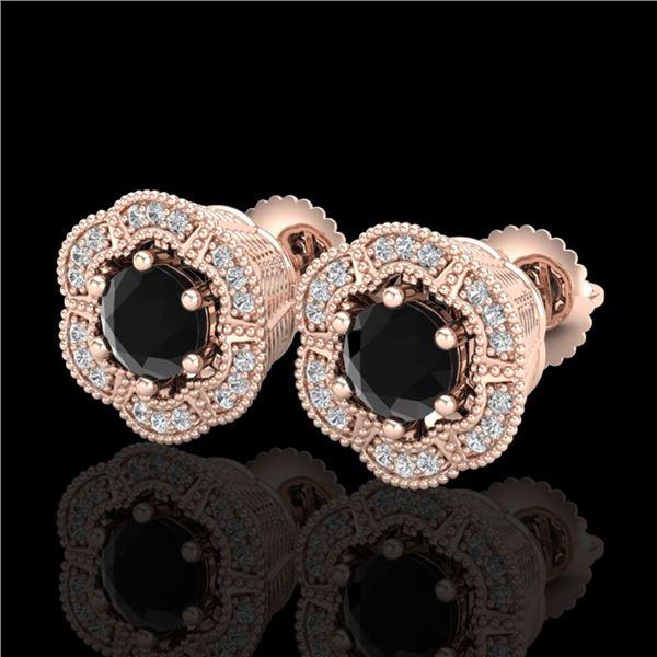 1.51 ctw Fancy Black Diamond Art Deco Stud Earrings 18k Rose Gold - REF-107A3N