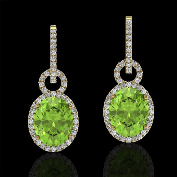 6 ctw Peridot & Micro Pave Halo VS/SI Diamond Earrings 14k Yellow Gold - REF-104W4H