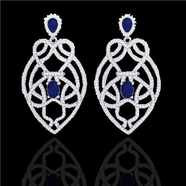 7 ctw Sapphire & Micro VS/SI Diamond Heart Earrings 14k White Gold - REF-381M8G