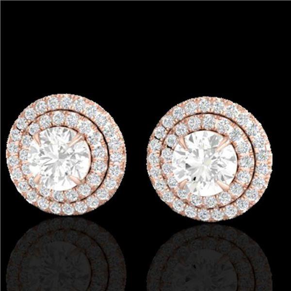 2 ctw Micro Pave VS/SI Diamond Certified Stud Earrings 14k Rose Gold - REF-263M6G