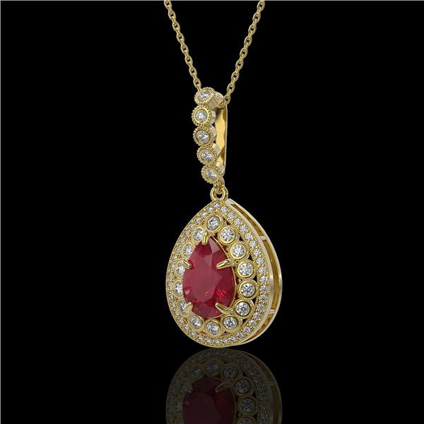 4.97 ctw Certified Ruby & Diamond Victorian Necklace 14K Yellow Gold - REF-160N2F