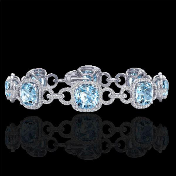 30 ctw TOPAZ & Micro VS/SI Diamond Certified Bracelet 14k White Gold - REF-368R9K