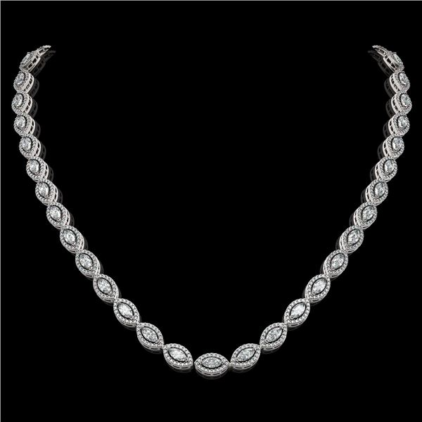 15.74 ctw Marquise Cut Diamond Micro Pave Necklace 18K White Gold - REF-1363F3M