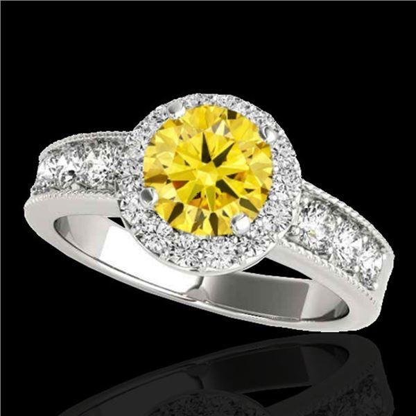2.1 ctw Certified SI/I Fancy Intense Yellow Diamond Ring 10k White Gold - REF-259Y3X