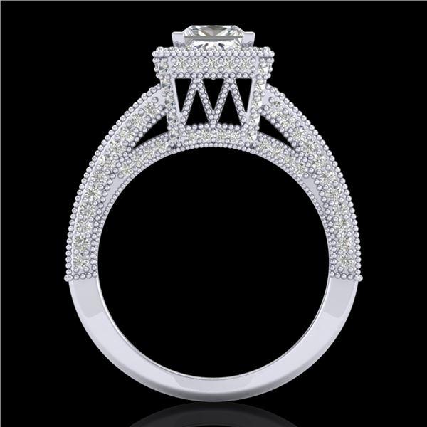 3.5 ctw Princess VS/SI Diamond Micro Pave Ring 18k White Gold - REF-581F8M