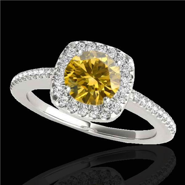 1.25 ctw Certified SI/I Fancy Intense Yellow Diamond Ring 10k White Gold - REF-190H9R