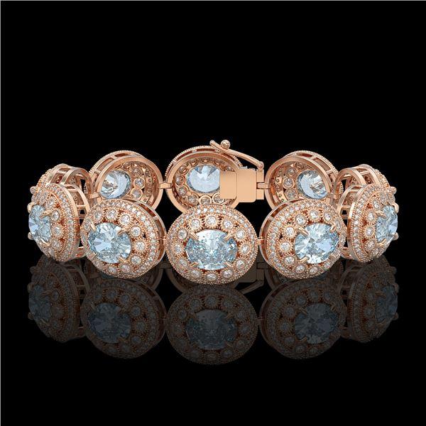 39.82 ctw Aquamarine & Diamond Victorian Bracelet 14K Rose Gold - REF-1218M2G