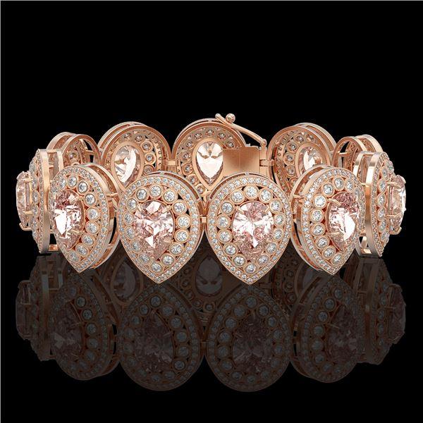 47.64 ctw Morganite & Diamond Victorian Bracelet 14K Rose Gold - REF-2044Y4X