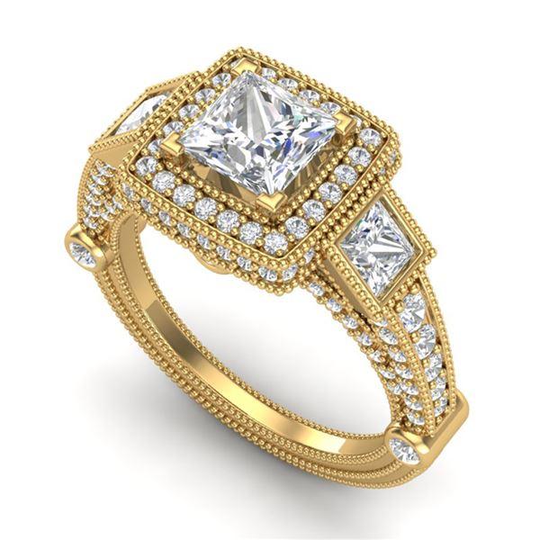 3 ctw Princess VS/SI Diamond Art Deco 3 Stone Ring 18k Yellow Gold - REF-563X6A