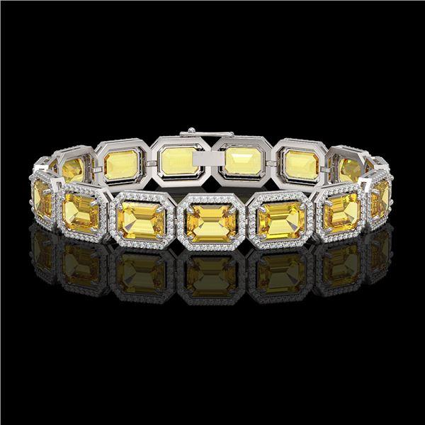 34.91 ctw Fancy Citrine & Diamond Micro Pave Halo Bracelet 10k White Gold - REF-336R4K