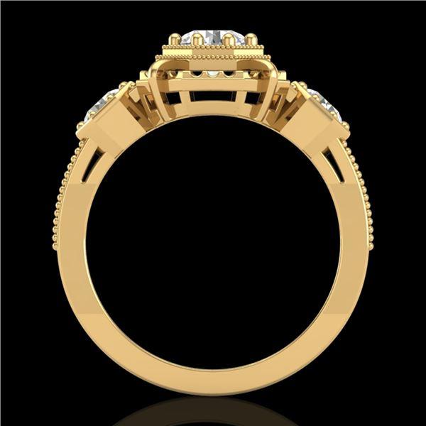 1.01 ctw VS/SI Diamond Solitaire Art Deco 3 Stone Ring 18k Yellow Gold - REF-170R9K