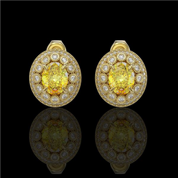 7.24 ctw Canary Citrine & Diamond Victorian Earrings 14K Yellow Gold - REF-188X2A