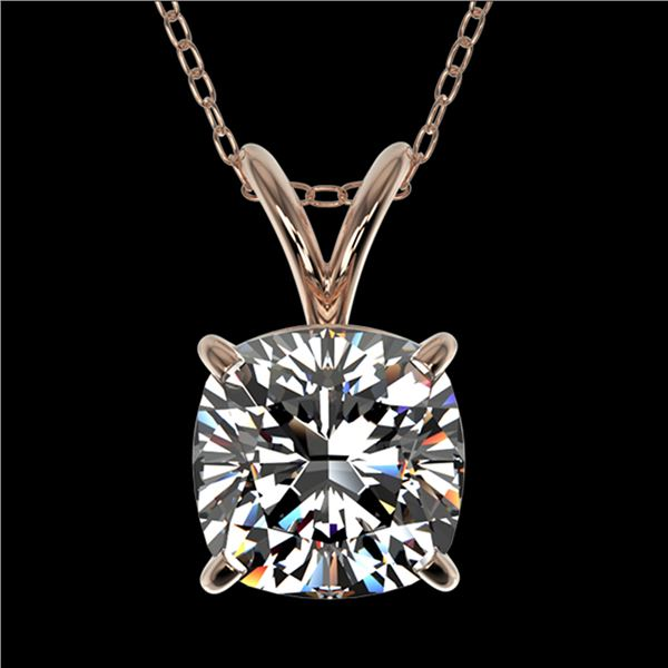 1.25 ctw Certified VS/SI Quality Cushion Diamond Necklace 10k Rose Gold - REF-325N2F