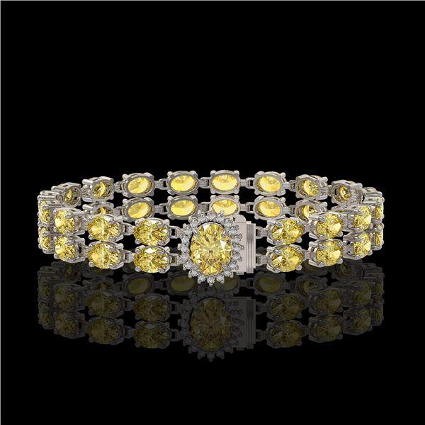 14.14 ctw Citrine & Diamond Bracelet 14K White Gold - REF-209H3R