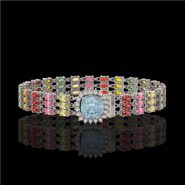33.04 ctw Sapphire & Diamond Bracelet 14K White Gold - REF-340R5K