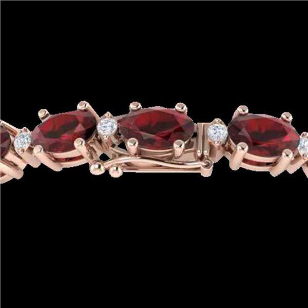25.8 ctw Garnet & VS/SI Certified Diamond Eternity Bracelet 10k Rose Gold - REF-119X3A