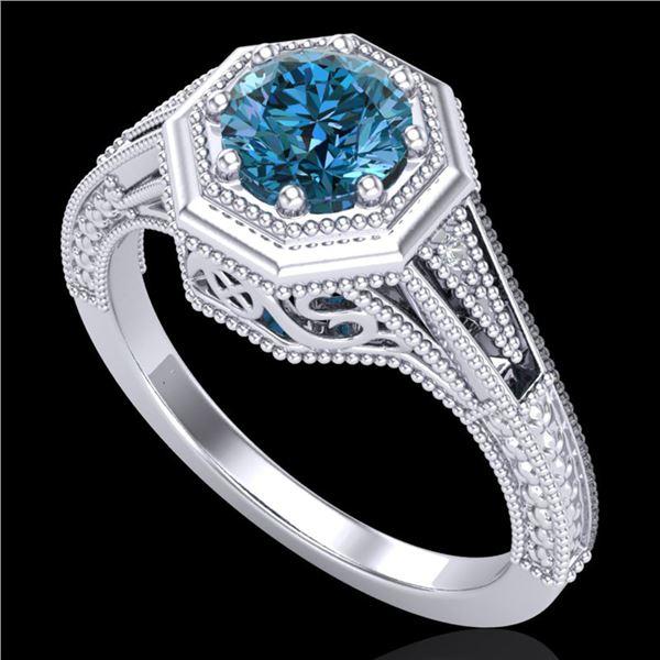 0.84 ctw Fancy Intense Blue Diamond Art Deco Ring 18k White Gold - REF-161F8M
