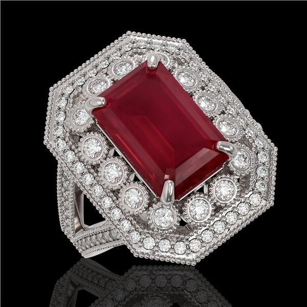7.11 ctw Certified Ruby & Diamond Victorian Ring 14K White Gold - REF-171X5A