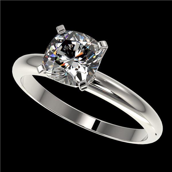 1.25 ctw Certified VS/SI Quality Cushion Cut Diamond Ring 10k White Gold - REF-304N6F