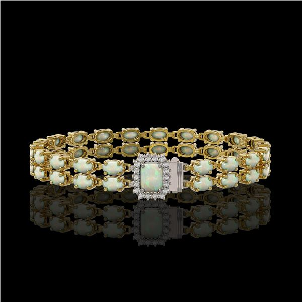 13.48 ctw Opal & Diamond Bracelet 14K Yellow Gold - REF-236M4G