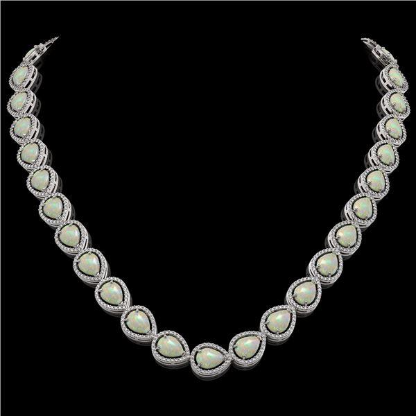 36.48 ctw Opal & Diamond Micro Pave Halo Necklace 10k White Gold - REF-709G3W