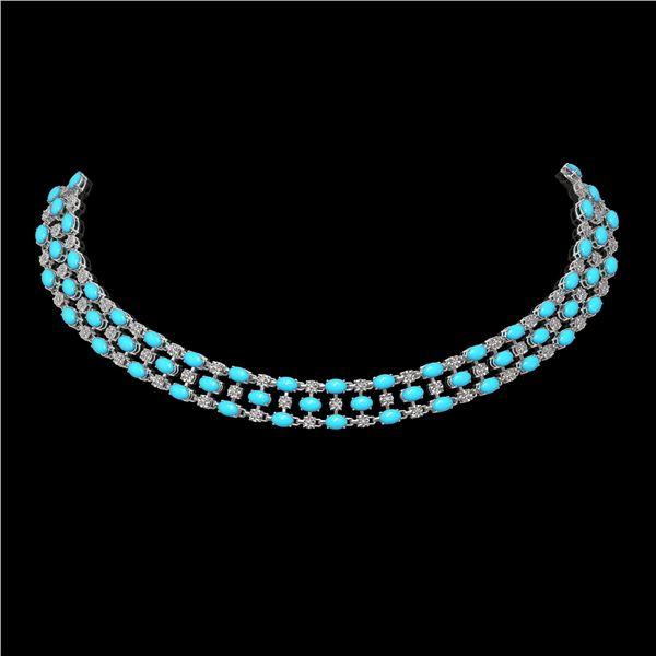 28.79 ctw Turquoise & Diamond Necklace 10K White Gold - REF-427K3Y