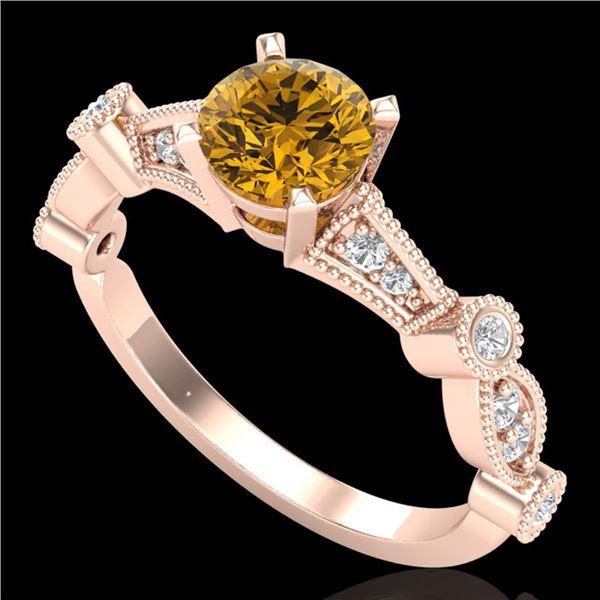 1.03 ctw Intense Fancy Yellow Diamond Art Deco Ring 18k Rose Gold - REF-154G5W